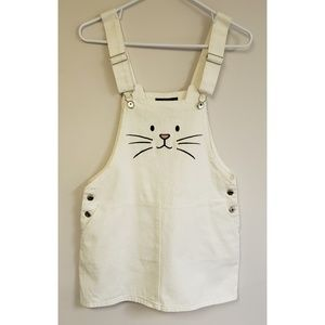 Forever21 Cute White Cat Overall Dress